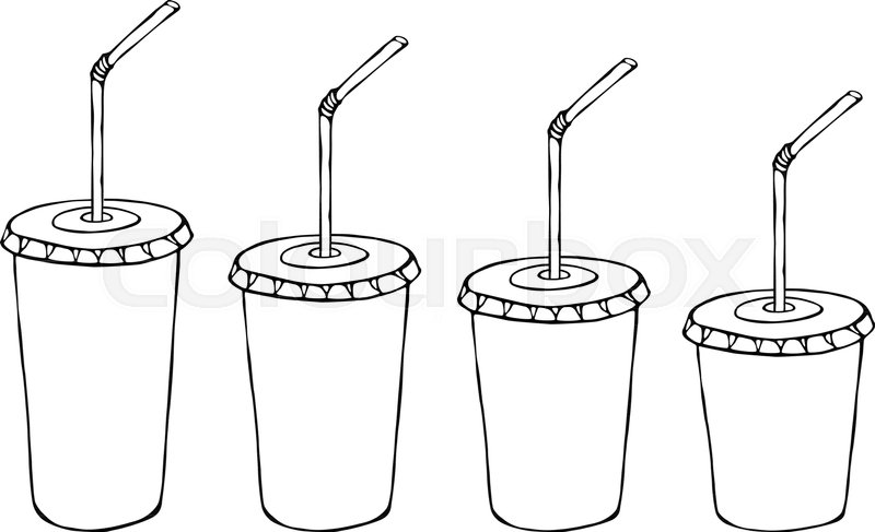 different size paper cup template for soda or cold beverage with