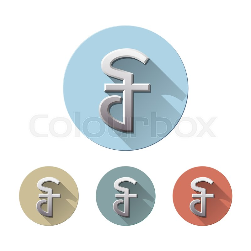 Set Of Cambodian Riel Currency Symbol On Colored Circle Flat Icons