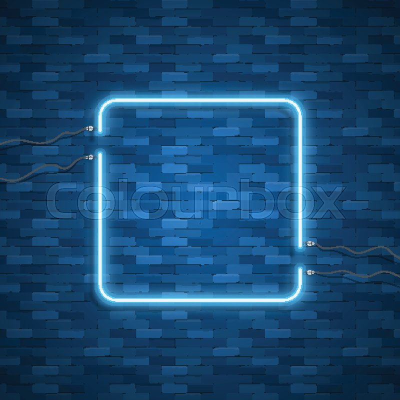 Blue Abstract Neon Square Shape Glowing Vintage Or Futuristic Frame