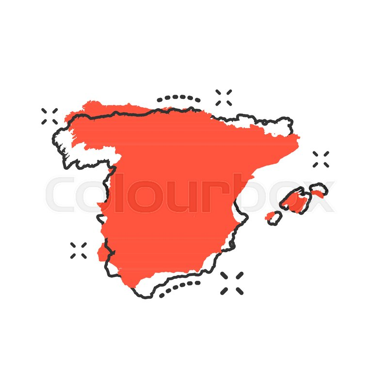 Map 24 Spain.Vector Cartoon Spain Map Icon In Comic Stock Vector Colourbox