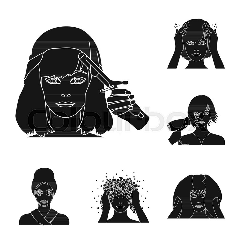 Care Of Hair And Face Black Icons In Set Collection For Design