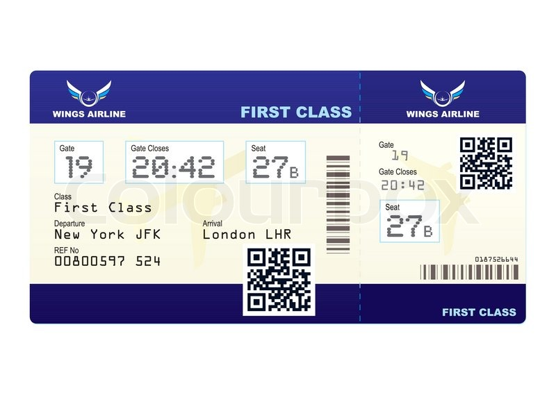 Fake Plane Ticket With Scan Smart Barcode Modern QR Code