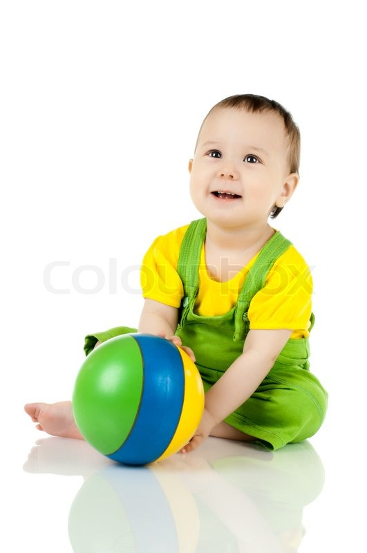 Very happy, beautiful,joy, little kid , play with ball on ...
