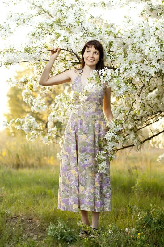 The Mature Beautiful Woman, With Bush Blossoming Apple -8512