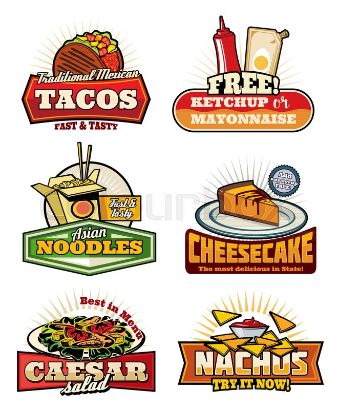 Fast Food Restaurant Vintage Symbols With Snack And Desserts