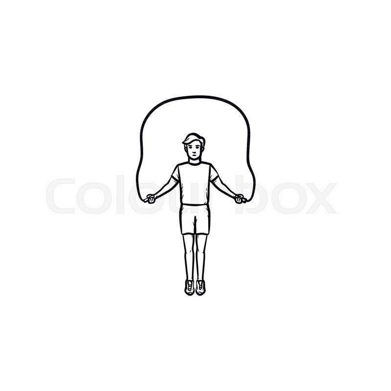 sportsman skipping over jump rope hand drawn outline doodle icon