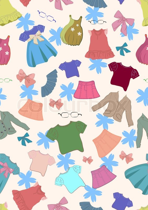 seamless colorful background with cute children clothes