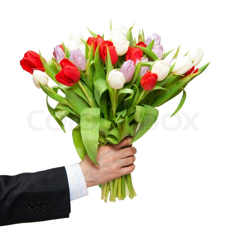 Arm of man giving bouquet | Stock Photo | Colourbox