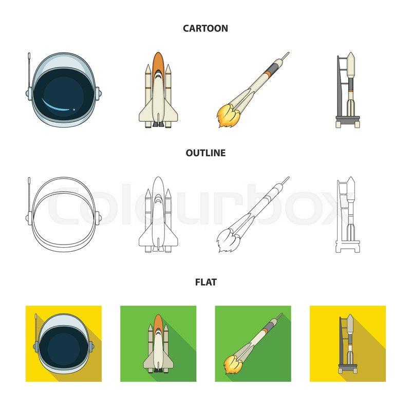 800px_COLOURBOX34097712 a spaceship in space, a cargo shuttle, a launch pad, an astronaut