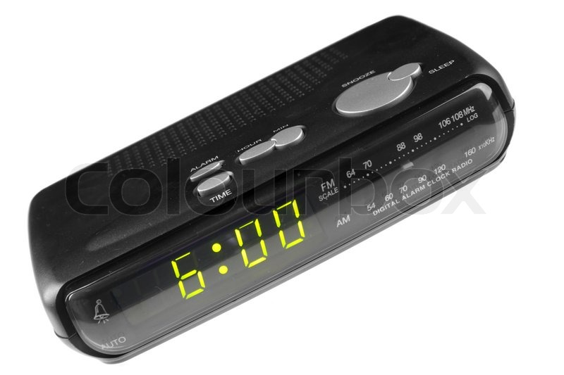 digital alarm clock radio isolated over white background stock photo colo. Black Bedroom Furniture Sets. Home Design Ideas
