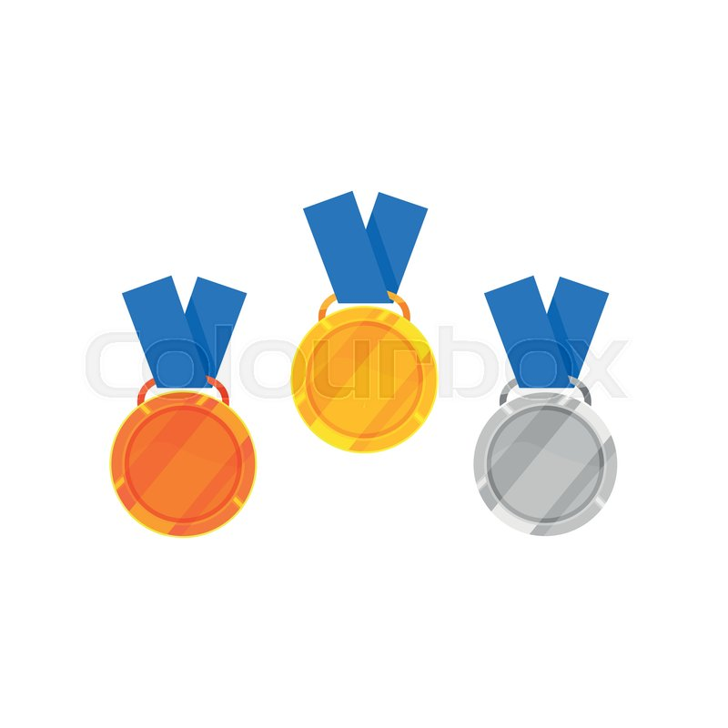 Cartoon Icon Of Gold Silver And Bronze Medal With Blue Ribbon