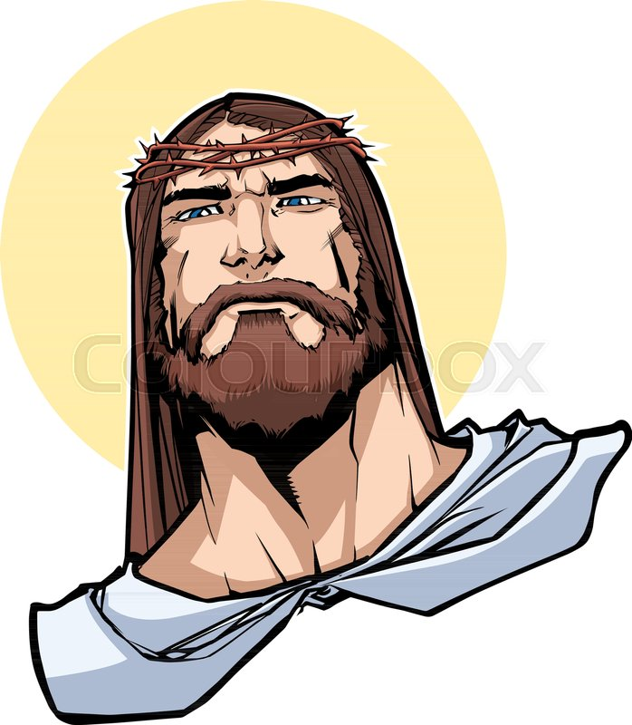 Portrait Of Jesus Christ Wearing Crown Stock Vector Colourbox Features a relaxed fit, hood with white drawstrings, full zip closure and ribbed cuffs and waistband. portrait of jesus christ wearing crown