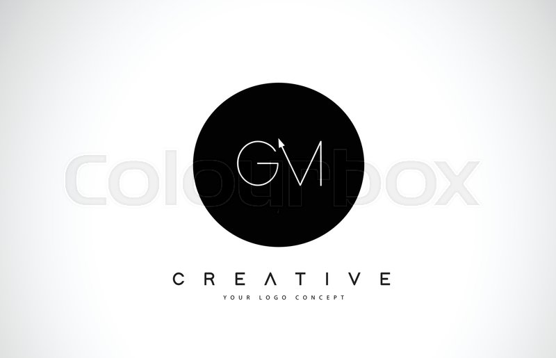 Gm G M Logo Design With Black And White Creative Icon Text Letter