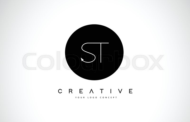 St S T Logo Design With Black And Stock Vector Colourbox