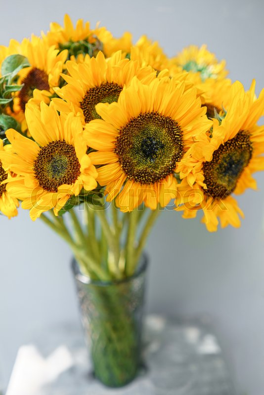Bouquet Of Yellow Sunflowers Flower In Vase On Old Vintage Table