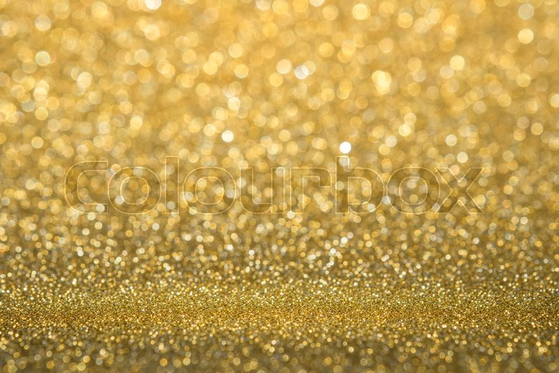 Abstract gold sparkling glitter wall and floor perspective background studio with blur bokeh.luxury holiday backdrop mock up for display of product.holiday festive ..., stock photo