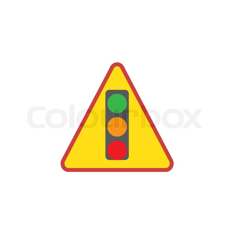 Traffic Light Sign Flat Icon Vector Sign Colorful Pictogram
