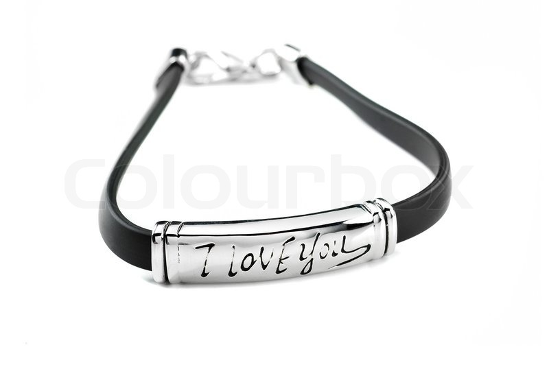 Black Love Picture on Black Rubber Bracelet With Metal Element And Inscription I Love You