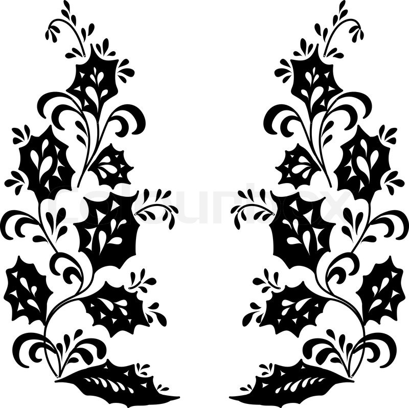 abstract floral background symbolical flowers black silhouette on white stock vector colourbox