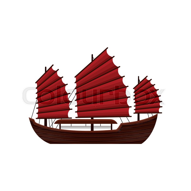 Traditional Chinese Junk Boat With Red Sails Old Wooden Sailing