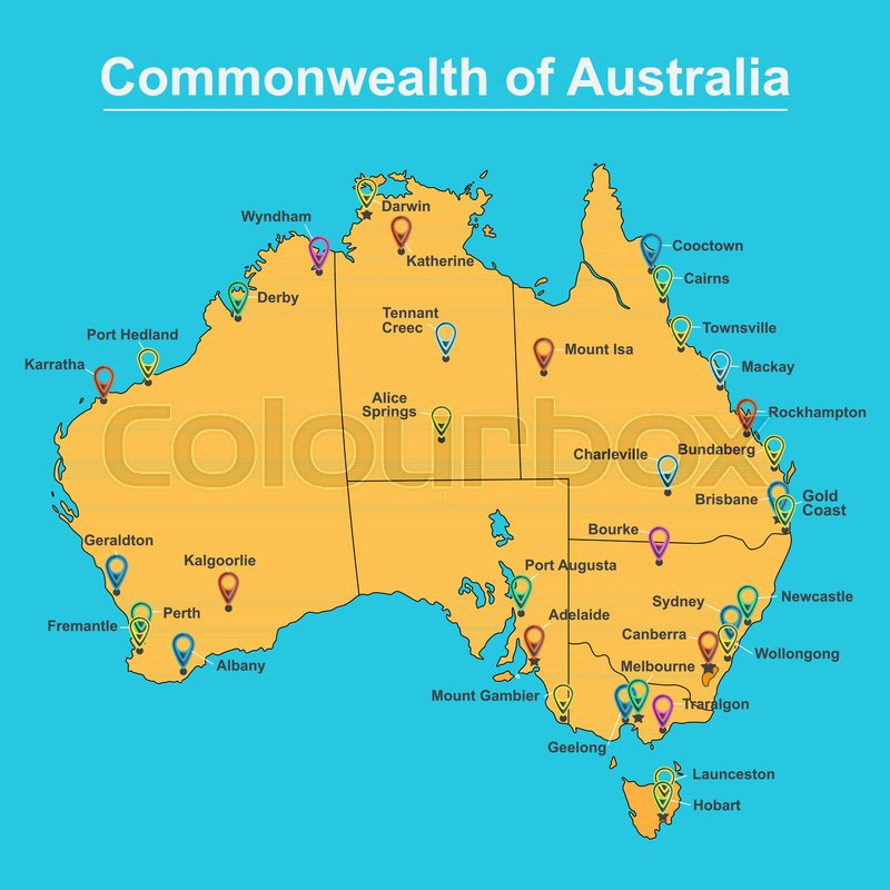 Australia Map With Cities And Towns.Map Of Australia With Major Towns And Stock Vector Colourbox