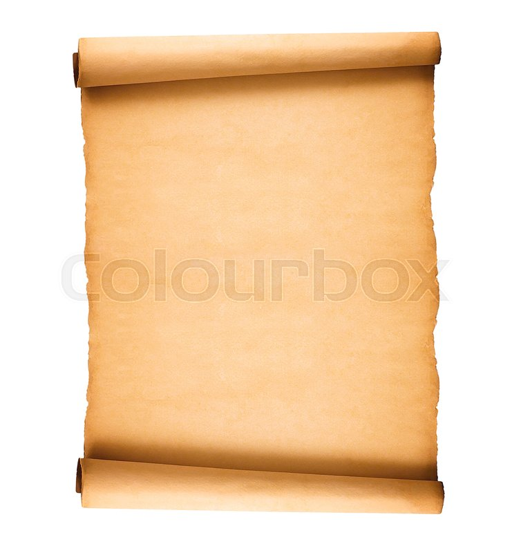 Scrolled Old Paper Isolated On White Background