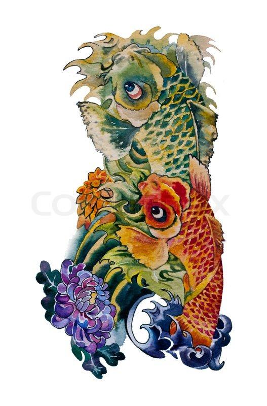 Koi Fish Japanese Tattoo Design Stock Photo Colourbox