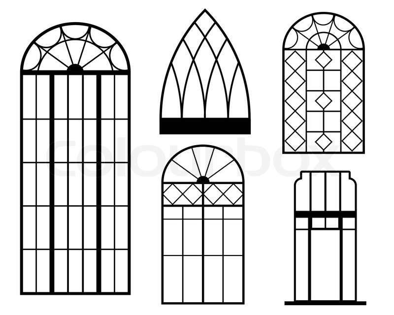 a set of vintage window frames vector