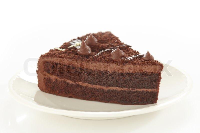 Chocolate Cake Slice On White Plate Stock Photo Colourbox