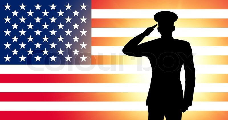 the usa flag and the silhouette of a soldier s military salute
