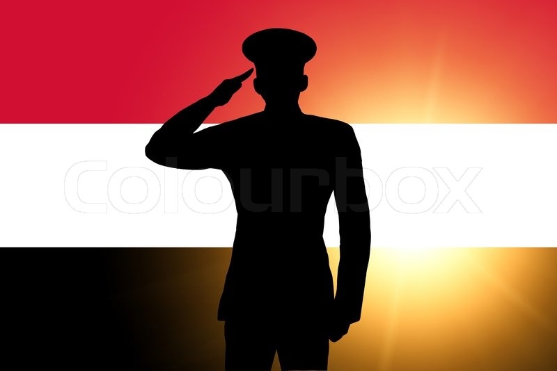 the egyptian flag and the silhouette of a soldiers military salute stock photo colourbox