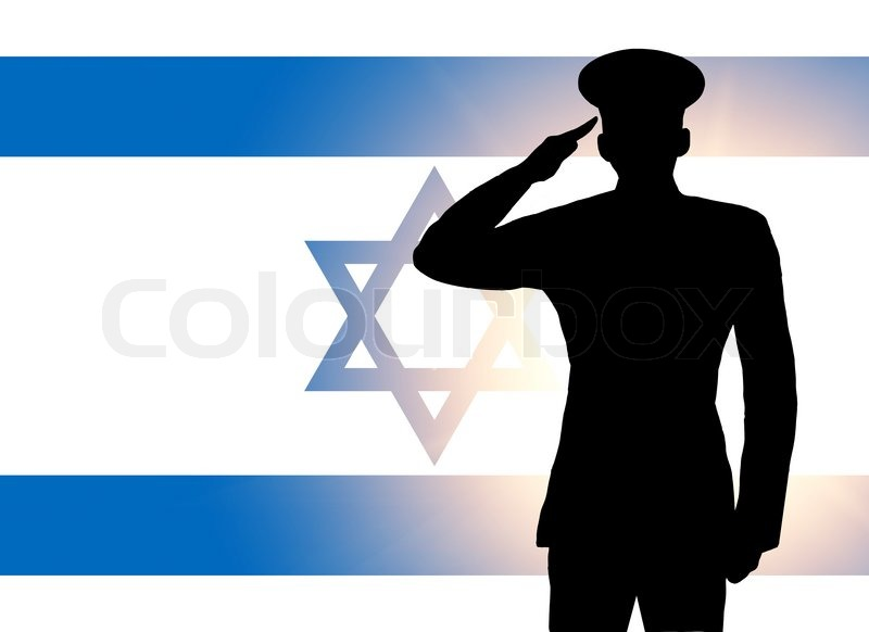 the israeli flag and the silhouette of a soldiers military salute stock photo colourbox