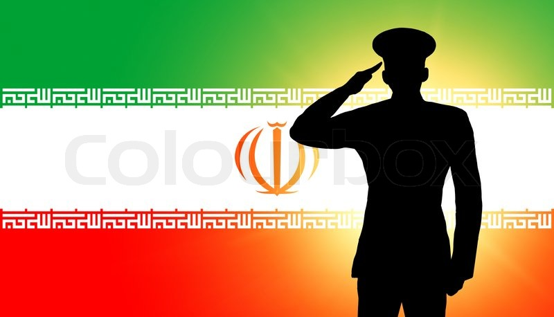 the iranian flag and the silhouette of a soldiers military salute stock photo colourbox