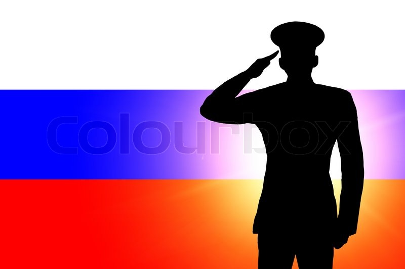 the russian flag and the silhouette of a soldiers military salute stock photo colourbox