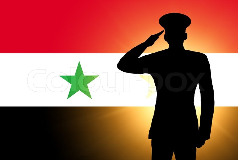 the syria flag and the silhouette of a soldiers military salute stock photo colourbox