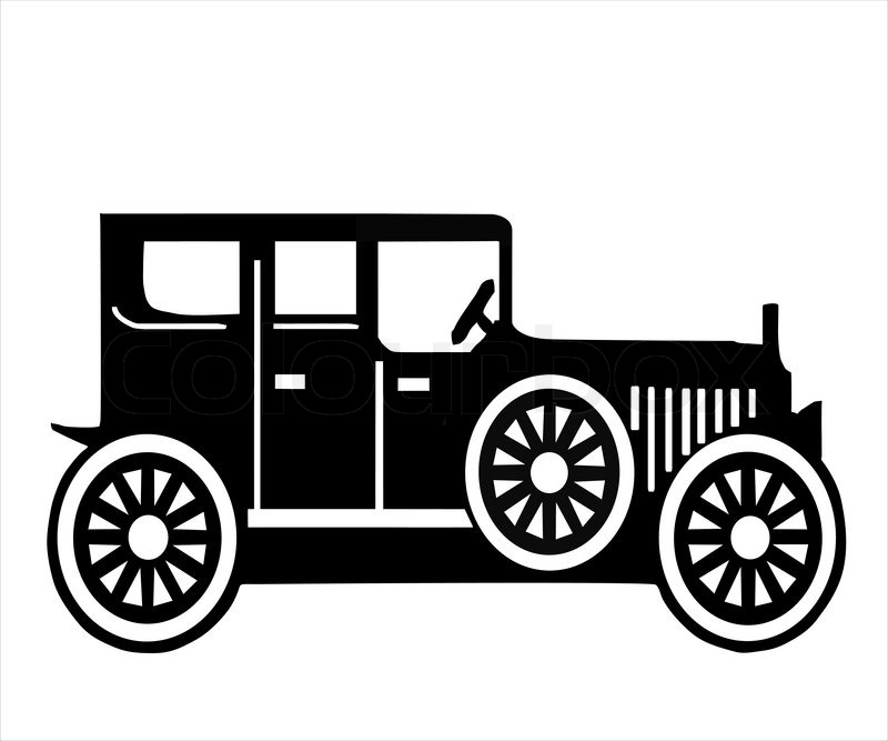On white background, is made old-time car | Stock Vector | Colourbox