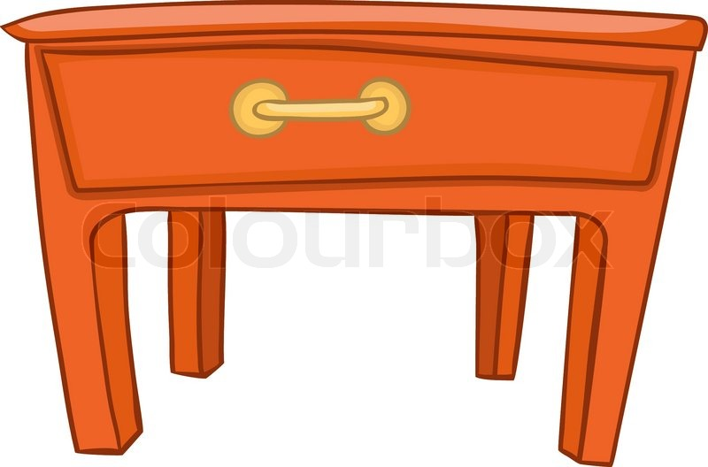 Cartoon Home Furniture Table Isolated On White Background