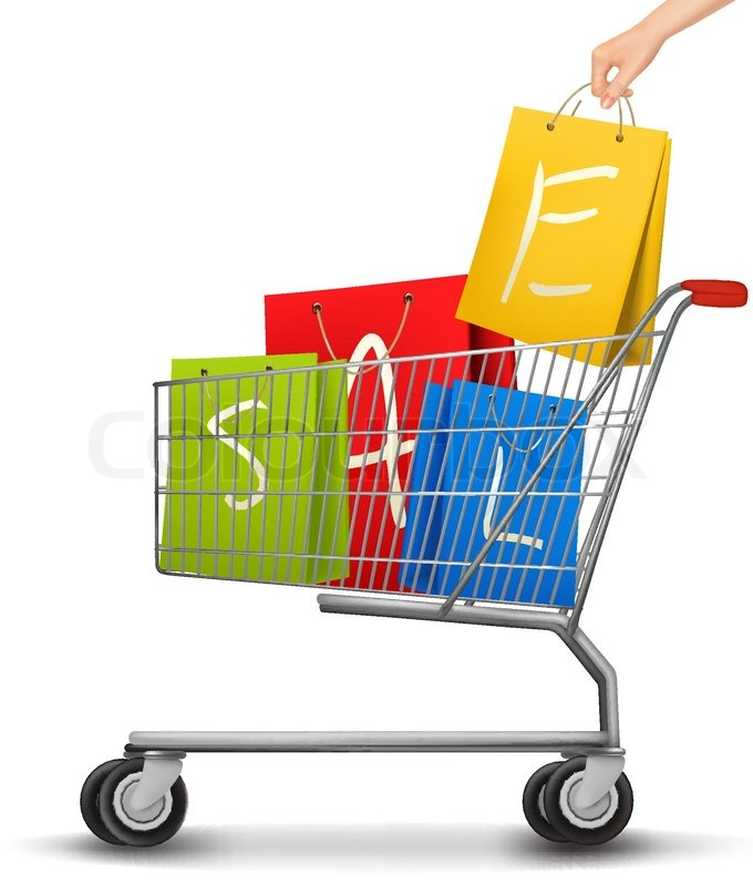Shopping cart full of shopping bags with a sale label. Vector ...
