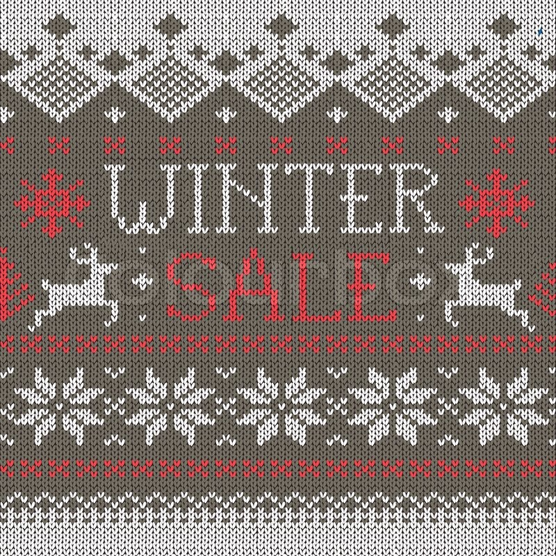 Winter Sale: Scandinavian style seamless knitted pattern with deers ...