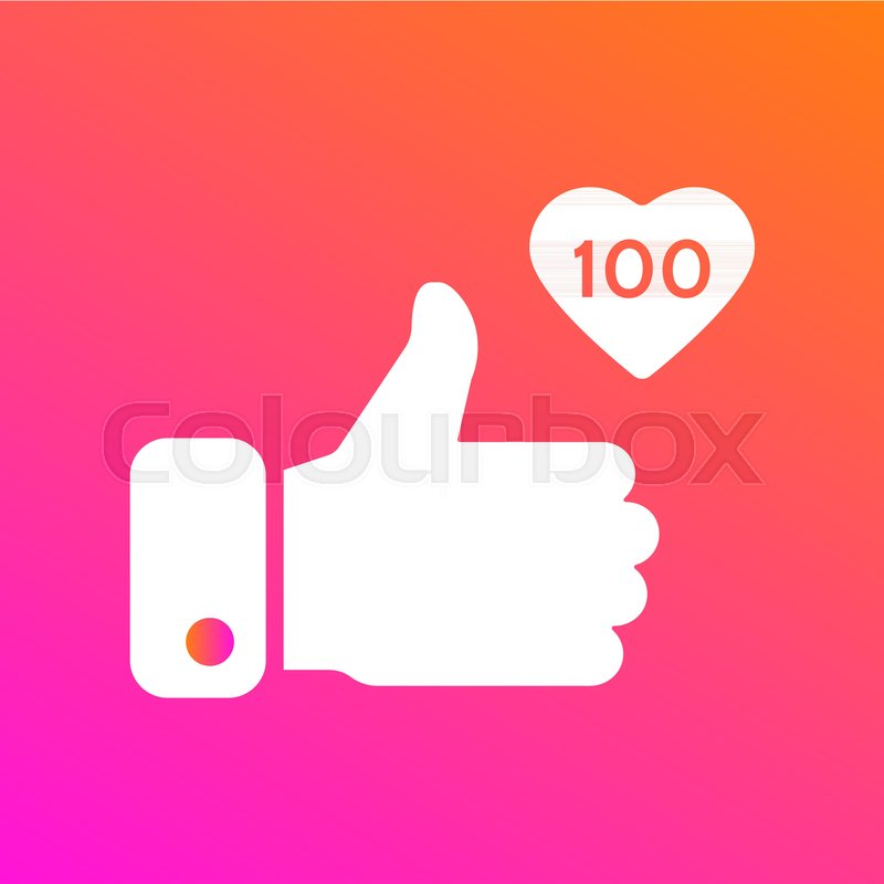 Like Thumbs Up Icon On Gradient Background Icon Like 100 Social