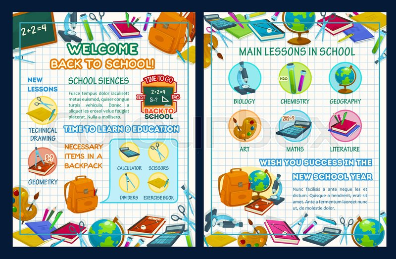 Back to school poster template with school supplies and science ...