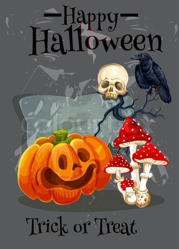 Happy halloween greeting card design for trick or treat october happy halloween greeting card design for trick or treat october holiday vector scary pumpkin lantern skull on tombstone and graveyard monster and black m4hsunfo