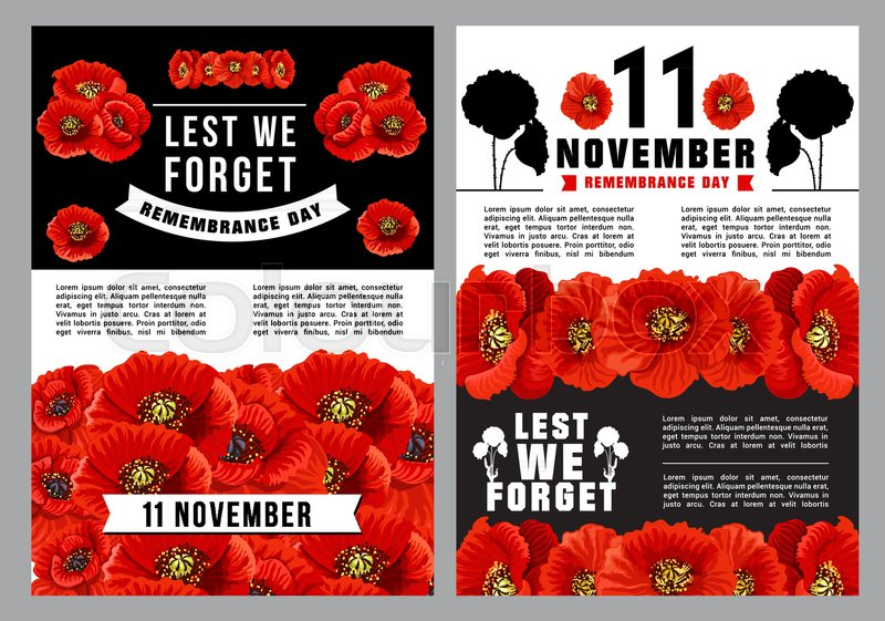 Poppy Day Lest We Forget Poster For Stock Vector Colourbox