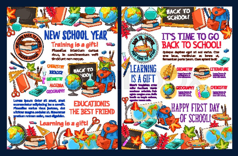Back To School Sketch Poster Template Stock Vector Colourbox