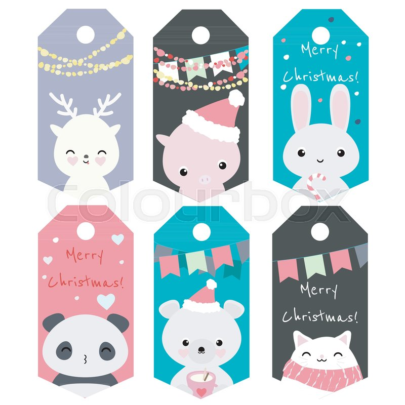 Set of 6 vector christmas tags with cute kawaii animals including ...