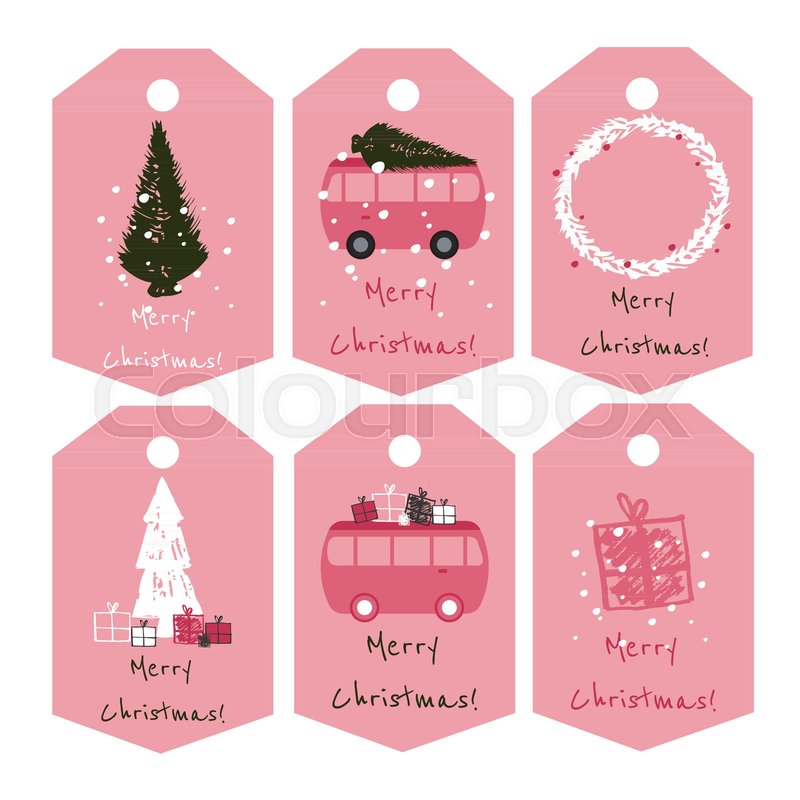 set of 6 cute christmas tags in nice redwhiteblack color palette great idea for christmas gifts greeting cards etc stock vector colourbox - Nice Christmas Gifts
