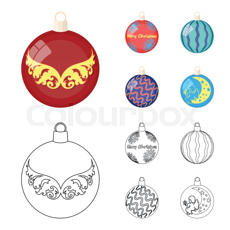 new year toys cartoon outline icons in stock vector colourbox new year toys cartoon outline icons in