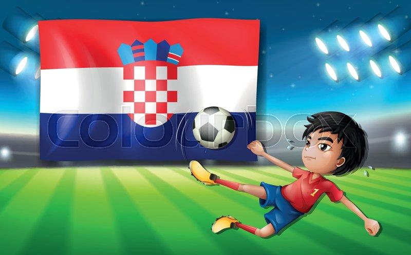 croatia football player template illustration stock vector colourbox
