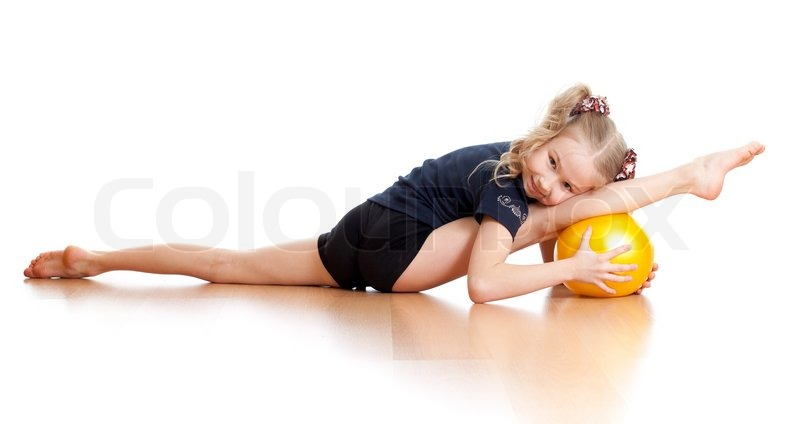Young Girl Doing Gymnastics Over White Background Stock