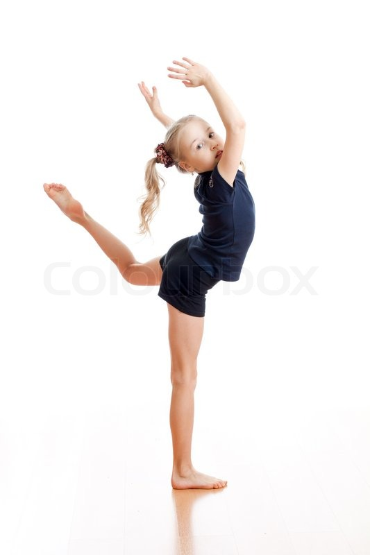 Young Girl Doing Gymnastics Over White Background  Stock -9637